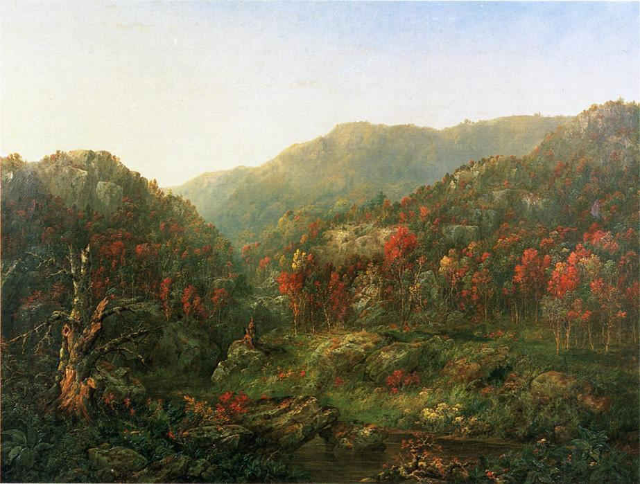 Paisaje con dos indios, óleo sobre lienzo de William Mason Brown (1828-1898, United States)