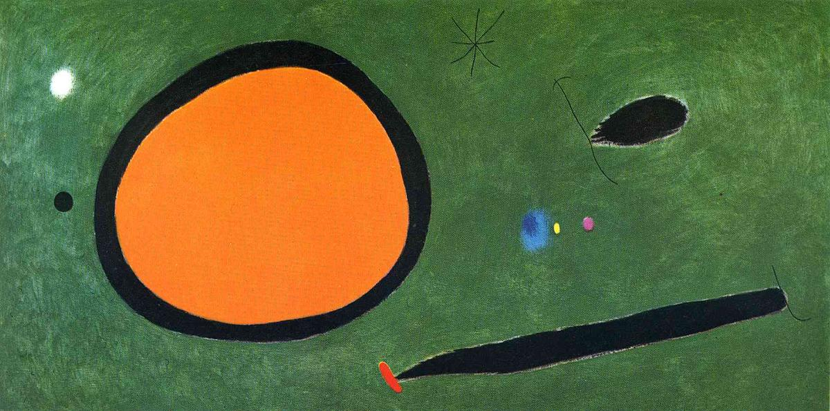 bird's` vuelo in luz de la luna, 1967 de Joan Miro (1893-1983, Spain)