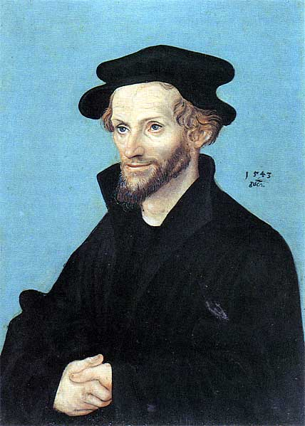 Retrato de Philipp Melanchthon, oleo en panel de Lucas Cranach The Elder (1472-1553, Germany)
