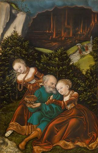 lot` y sus hijas, aceite de Lucas Cranach The Elder (1472-1553, Germany)