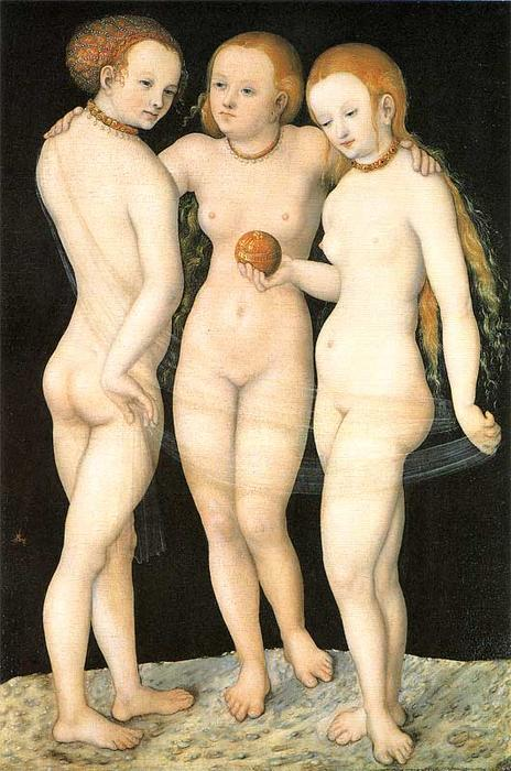 el tres gracias, Óleo sobre tabla de Lucas Cranach The Elder (1472-1553, Germany)