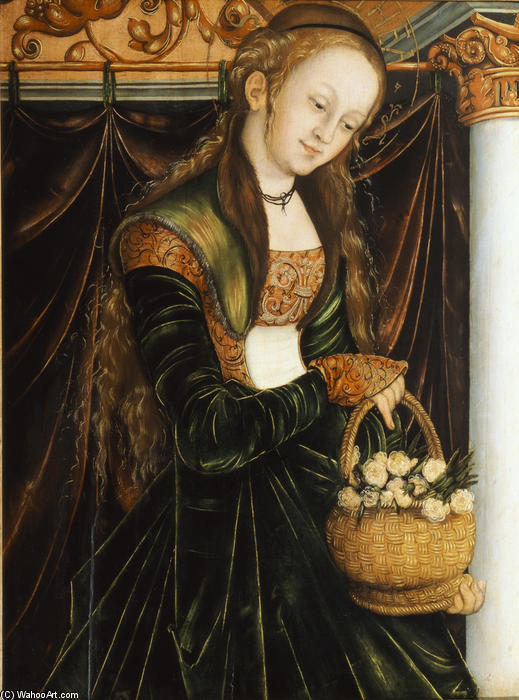 St. Dorothea, témpera de Lucas Cranach The Elder (1472-1553, Germany)