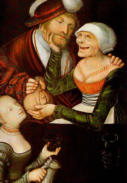La alcahueta, oleo en panel de Lucas Cranach The Elder (1472-1553, Germany)