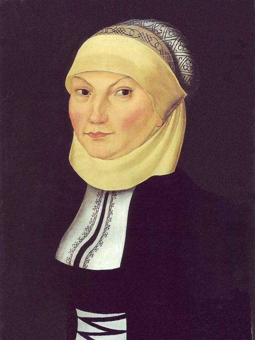 Katharina Luther, oleo en panel de Lucas Cranach The Elder (1472-1553, Germany)