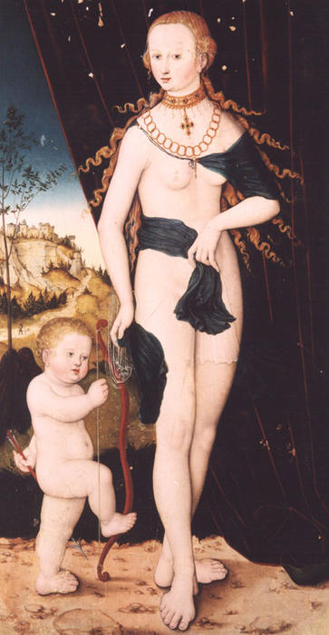 Venus y cupido de Lucas Cranach The Elder (1472-1553, Germany)