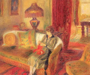 William James Glackens - La esposa del artista que hace punto