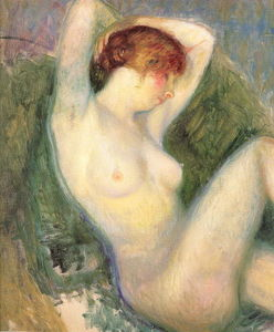 William James Glackens - Desnudo en silla verde
