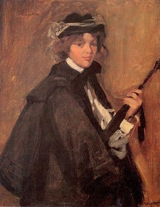 William James Glackens - chica en un Negro capa