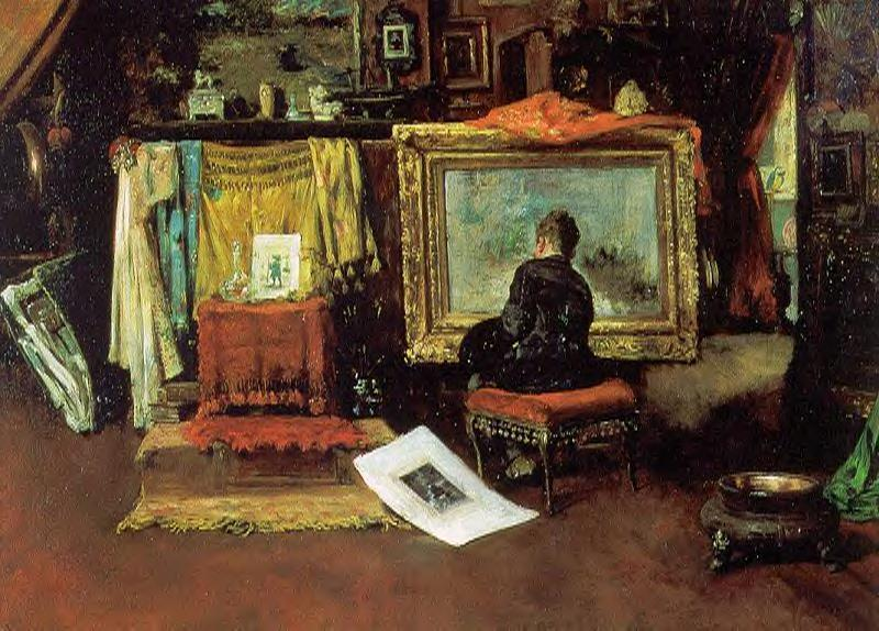 el `tenth` calle estudio, óleo sobre lienzo de William Merritt Chase (1849-1916, United States)