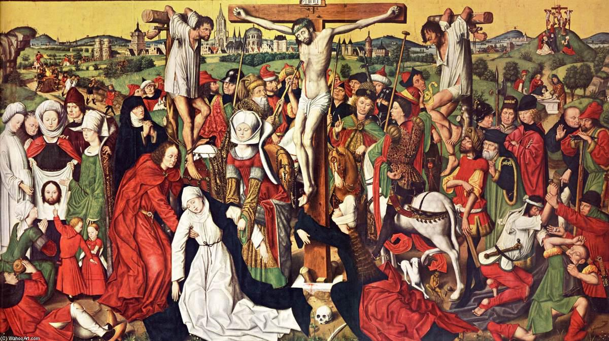 Crucifixión Altar, panel de Derick Baegert (1440-1515, Germany)