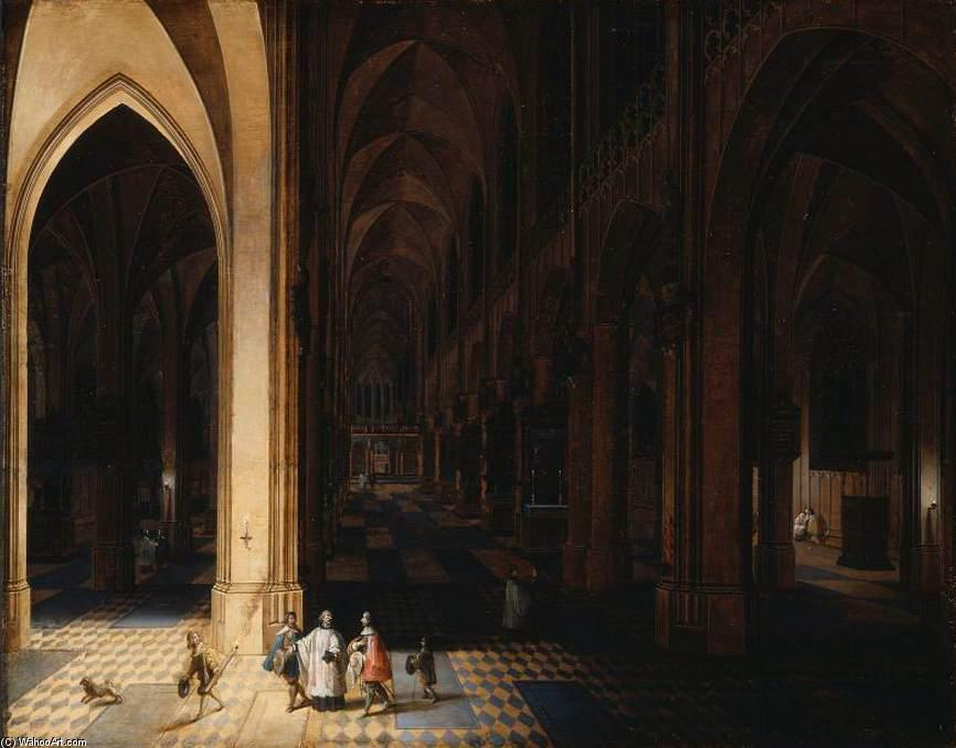 El interior of Antwerp Catedral en la noche, Óleo sobre tabla de Peeter The Elder Neeffs (1578-1656, Belgium)