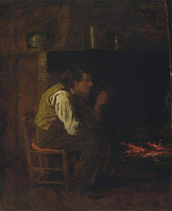 Maine El interior - hombre con pipa, Óleo sobre tabla de Jonathan Eastman Johnson (1824-1906, United Kingdom)