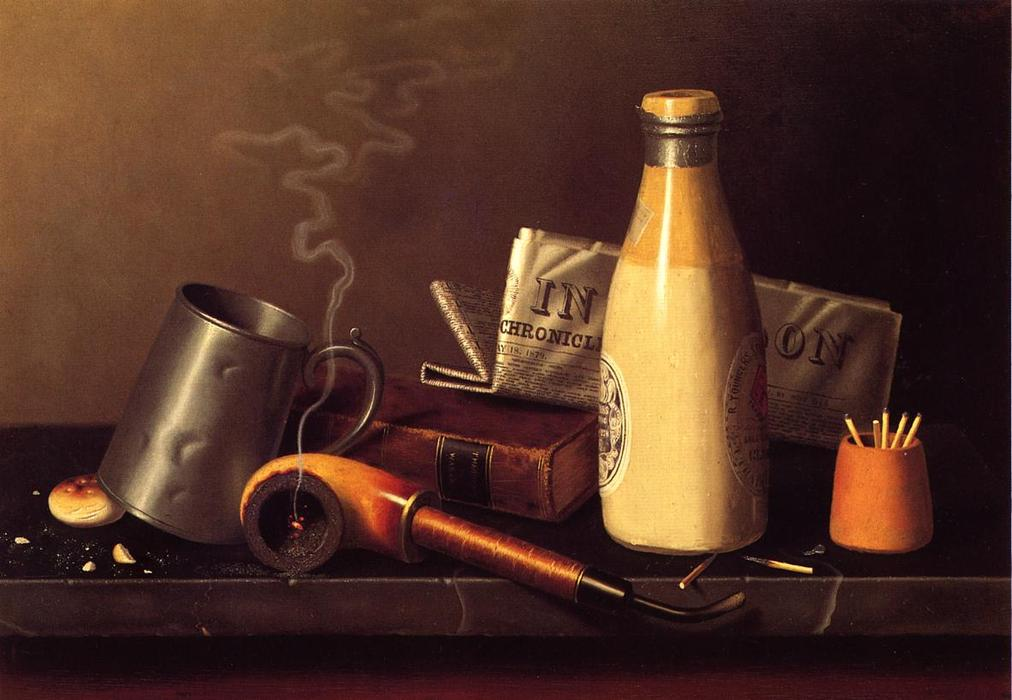 Materiales para una hora de ocio, óleo sobre lienzo de William Michael Harnett (1848-1892, Ireland)