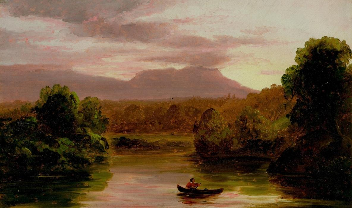 En Catskill Creek, Puesta de sol, oleo en panel de Thomas Cole (1801-1848, United Kingdom)