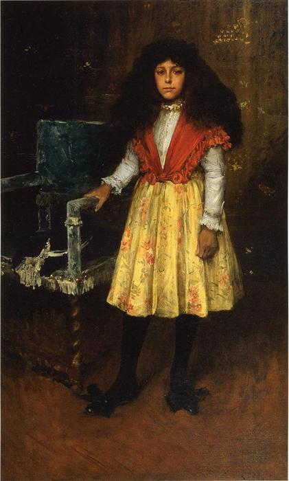 Retrato de Erla Howell (también conocido como Little Miss H.), óleo sobre lienzo de William Merritt Chase (1849-1916, United States)