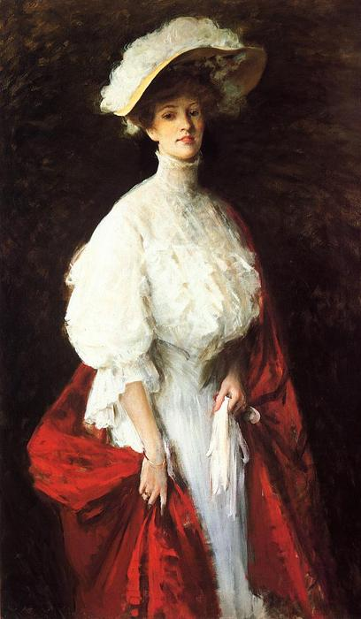Retrato de la señorita Frances Vonlohr Earle, óleo sobre lienzo de William Merritt Chase (1849-1916, United States)