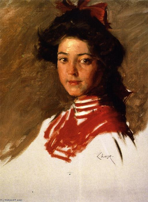 Retrato Sketch chica  para  Un  guardiamarina  Blusa , óleo sobre lienzo de William Merritt Chase (1849-1916, United States)