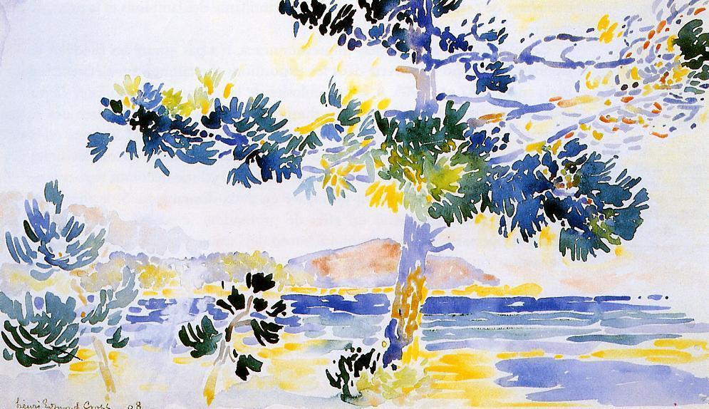 Saint-Clair Paisaje, de Acuarela de Henri Edmond Cross (1856-1910, France)