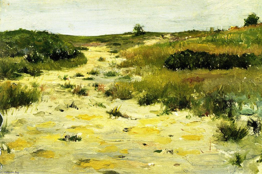 Shinnecock Hills (8), oleo en panel de William Merritt Chase (1849-1916, United States)