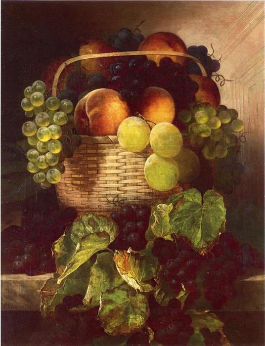 Still Life with Uvas . Ciruelas and Melocotones en a Cesto, óleo sobre lienzo de William Mason Brown (1828-1898, United States)