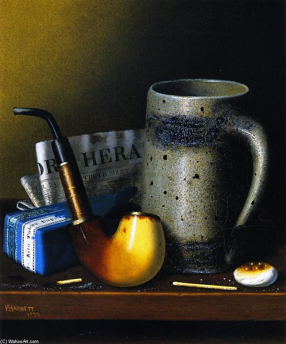 Still Life with Tubo and Nuevagalesdelsur York Herald, óleo sobre lienzo de William Michael Harnett (1848-1892, Ireland)