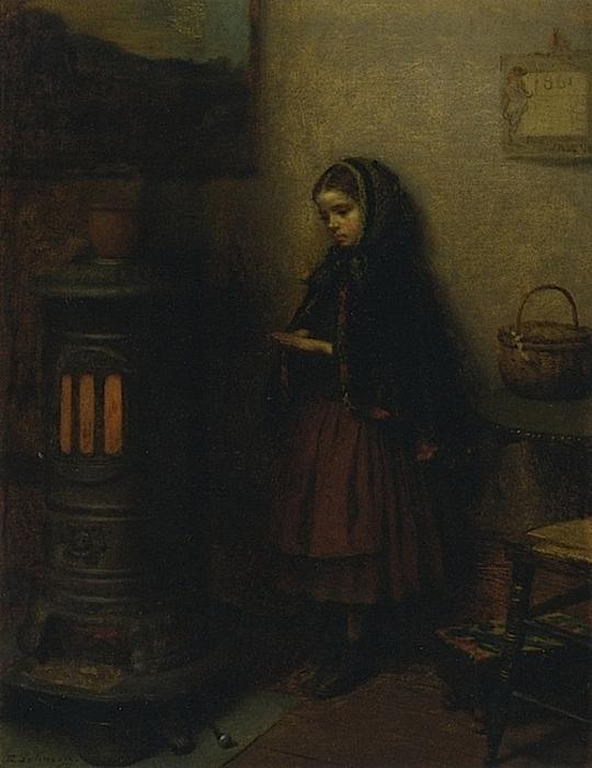 Calentamiento Sus Manos, óleo sobre lienzo de Jonathan Eastman Johnson (1824-1906, United Kingdom)