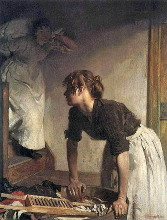 El lavado de Casa de William Newenham Montague Orpen (1878-1931, Ireland)