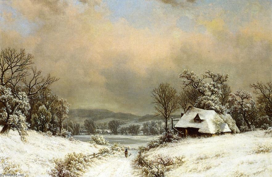 invierno ExtremoOriente campo, óleo sobre lienzo de William Mason Brown (1828-1898, United States)