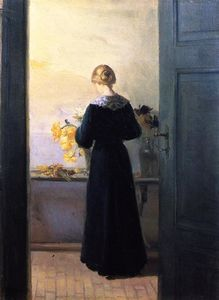 Anna Kirstine Ancher - mujer joven Organizar  flores