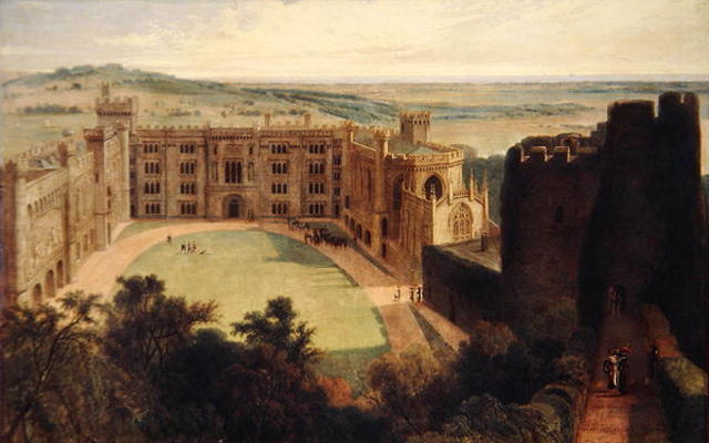 `arundel` castillo de mañanapasado vigilar de Thomas And William Daniell (1769-1837, United Kingdom)