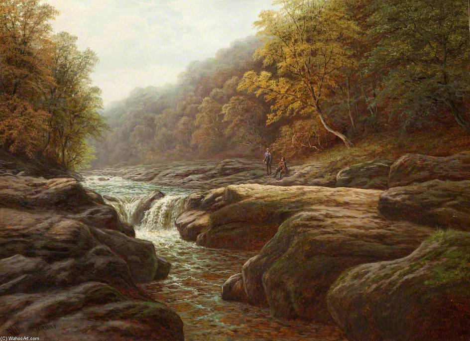 a río escena enestado  Los pescadores  de William Mellor (1851-1931, United Kingdom) | ArtsDot.com