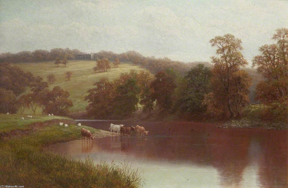El Wharfe, Cerca de Ilkley de William Mellor (1851-1931, United Kingdom)