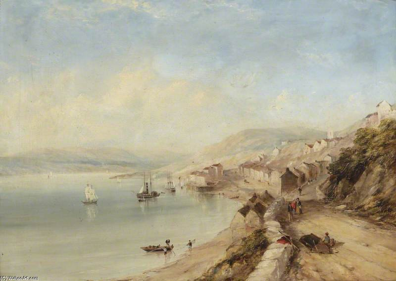 Un Lakeside Village de John Wilson Carmichael (1800-1868, United Kingdom)