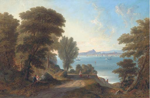 una vista a través de firth of forth a edimburgo , el castillo de John Wilson Carmichael (1800-1868, United Kingdom)