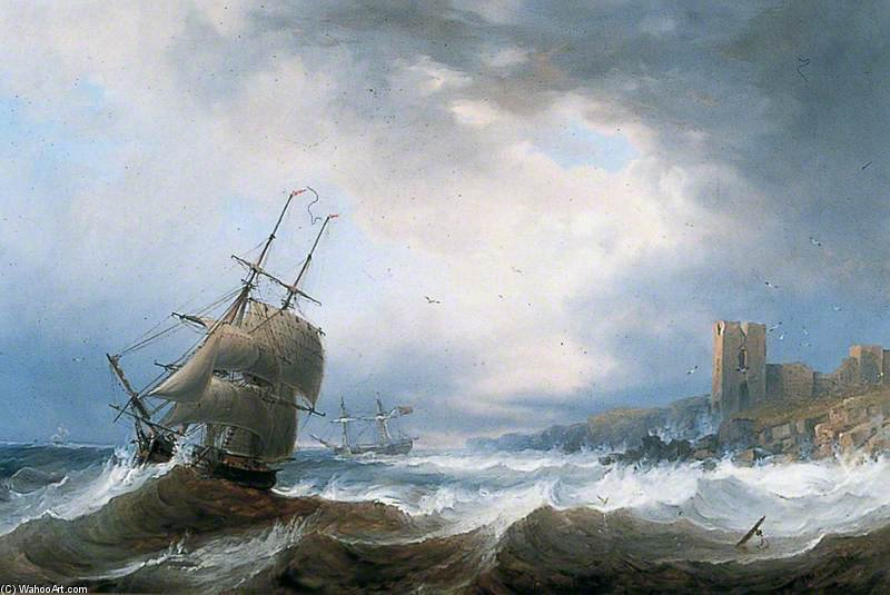 Naves Beating Off Shore A Lee de John Wilson Carmichael (1800-1868, United Kingdom)
