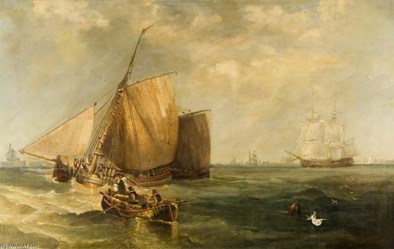 Viento Refrescar Off casco de John Wilson Carmichael (1800-1868, United Kingdom)