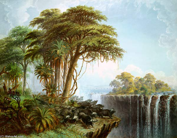 Búfalos Driven To The Edge Of The Opposite Island Garden abismo, Cataratas Victoria de Thomas Baines (1820-1875, United Kingdom)
