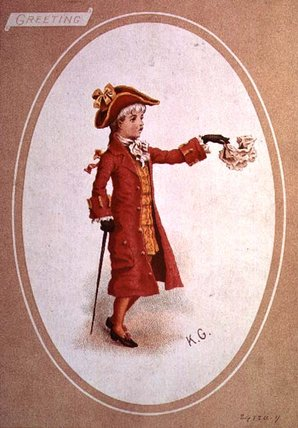 niño vestido  para  Escarlata  de Kate Greenaway (1846-1901, United Kingdom)