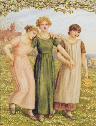 tres jóven niñas de Kate Greenaway (1846-1901, United Kingdom)