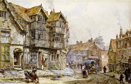Las casas viejas, Shrewsbury de Louise Rayner (1832-1924, United Kingdom)