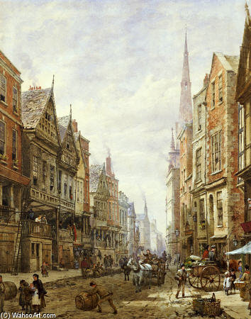 Watergate Street, Chester de Louise Rayner (1832-1924, United Kingdom)