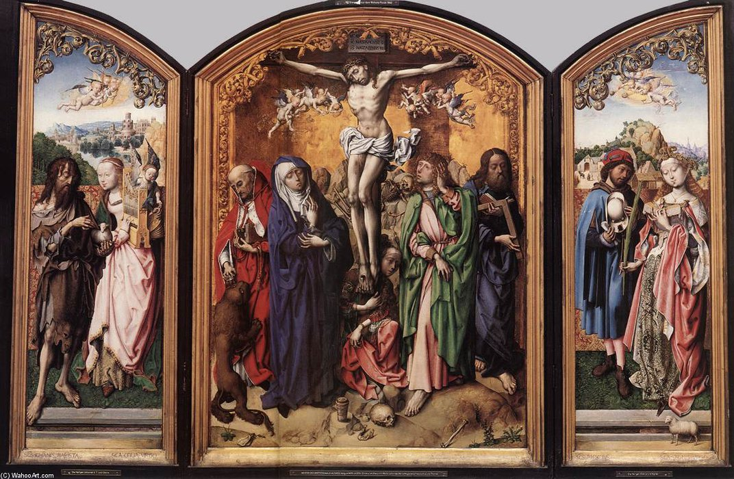 cruxificcion retablo  de Master Of The St Bartholomew Altar (1450-1510, Germany)