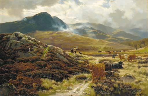 Highland Drovers Descansar de Henry Hadfield Cubley (1858-1934, United Kingdom)