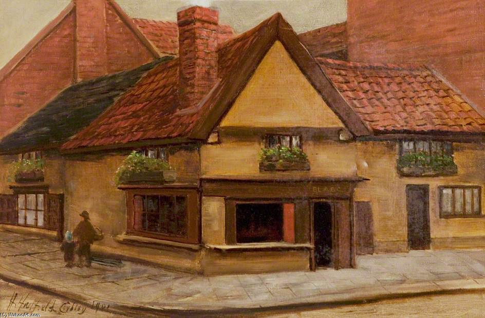 The Old Shop, Newark, Nottinghamshire de Henry Hadfield Cubley (1858-1934, United Kingdom)