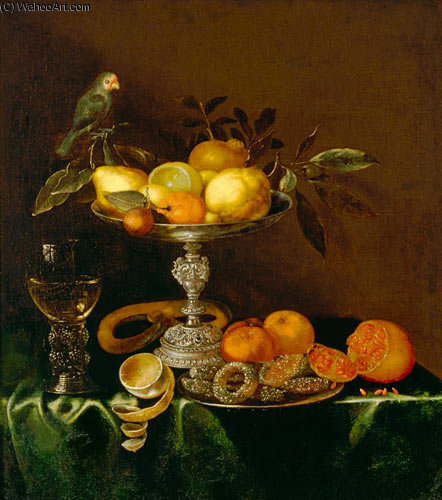 Quiet Life Con romana, Plata Tazza, frutas, pastas y aves de Jacob Marrel (1614-1681, Germany)