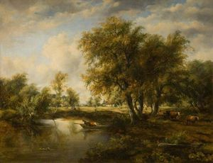 Frederick Waters Watts - paisaje con un arroyo