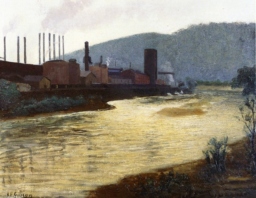 Monongahela River, Pittsburgh, Jones y la planta de acero Laughlin de Aaron Harry Gorson (1872-1933, Lithuania)