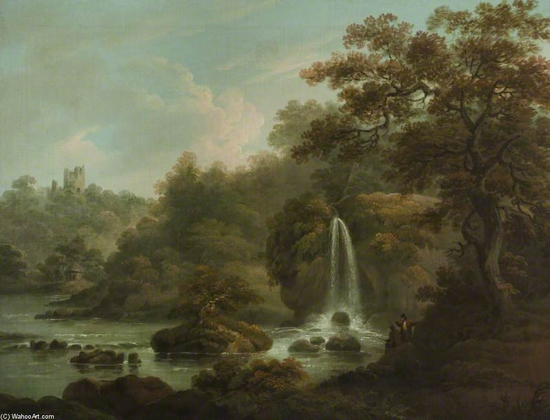 La roca que llora Una Cascada en Hackfall cerca de Ripon, West Riding de Yorkshire de Anthony Devis (1729-1816, United Kingdom)