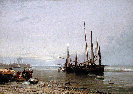 Luggers en la playa de Treport de Arthur Joseph Meadows