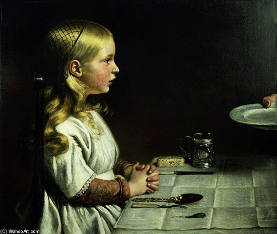 Florencia Cope Gracia en la cena Decir de Charles West Cope (1811-1890, United Kingdom)